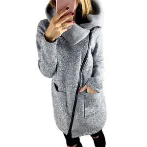 TOOPOOT Womens Hooded Jacket Coat Long Zipper Outwear