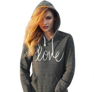 ✽Anglin✽ Women Autumn Winter Printing Drawstring Hoodied Sweater (XL)