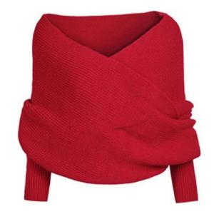 Ikevan Hot Selling Fashion Korean Style Autumn Winter Women Warm Crochet Knitted Scarf Cape Shawl with Sleeves (Red)