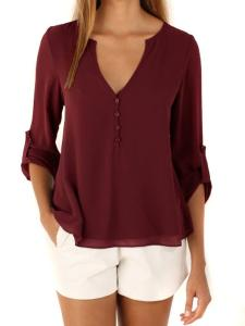 POSESHE Women's V-Neck Button Detail Dip Back Solid Blouse Top