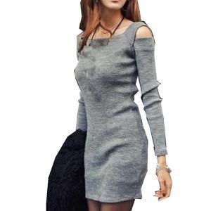 Women Dress,Haoricu Fall Women Crew Neck Long Sleeve Off Shoulder Knit Short Mini Dress