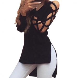 Women Tee Shirt,Neartime Casual Club Tops Sexy Shirts Hollow Sleeve Blouse (XL, Black)