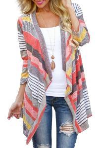 Myobe Women's Fashion Geometric Print Drape Front Cable Knit Cardigan