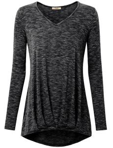 Timeson Womens Long Sleeve V Neck Pleated Fit High Low Hem Long Tunic Top