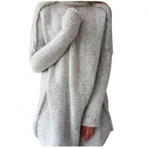 Franterd Women's Fall Winter Oversized Knitted Crewneck Casual Pullovers Sweater