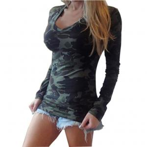 Women Clothes,Neartime Long Sleeve V-neck Camouflage Slim Casual T-shirt Garment (M)