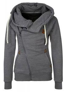 TagoWell Women Funnel Neck Hoodie Sweatshirt Fall Oblique Zipper Coat Jacket