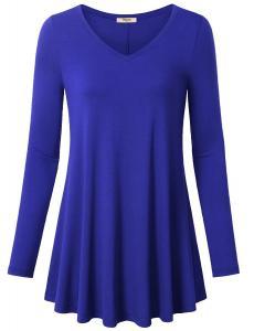 Timeson Women's V-Neck Long Sleeve Shirt Flowy A-Line Casual Tunic Tops