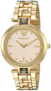 Versace Women's 'Crystal Gleam' Swiss Quartz Stainless Steel Casual Watch, Color:Gold-Toned (Model: VAN070016)
