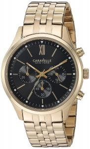 Caravelle New York Men's Quartz and Stainless-Steel Dress Watch, Color:Gold-Toned (Model: 44A108)