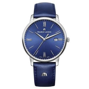 Maurice Lacroix Men's 'Eliros' Quartz Stainless Steel and Leather Casual Watch, Color:Blue (Model: EL1118-SS001-410-1)