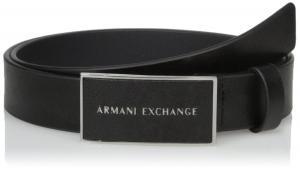 Armani Exchange Men's Saffiano Belt With Logo Rectangle Buckle