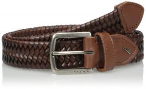 Nautica Men's Natuica Men's Leather Web Woven Braid Belt