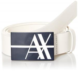 Armani Exchange Men's Graphic Logo Buckle Belt - Leather Buckle Belt