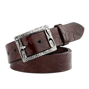 JASGOOD Women's Western Fashion Belts with Embossed Leather and Engraved Hollow Buckle