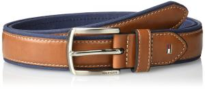 Tommy Hilfiger Men's Fabric Belt with Leather Overlay