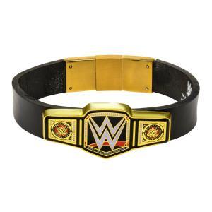 """WWE Jewelry Championship Belt Logo in Black Leather Men's Bracelet, 8.5"""""""