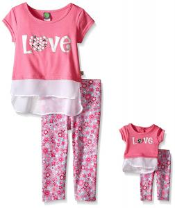 Dollie & Me Girls' Knit Mock Layered Tank with Tunic and Floral Legging Set