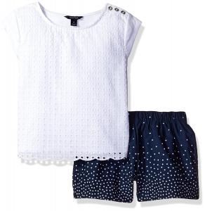 Nautica Girls' Knit Top with Scallop Edge Detail and Dot Woven Short Set