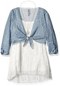 Beautees Big Girls' 2 Pc. Tie Front Shrug Over Pleated Tunic