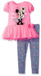Disney Girls' Minnie Mouse Legging Set with Tulle Fashion Top