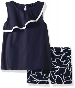 Nautica Girls' Sleeveless Knit Top with Leaf Print Woven Short Set