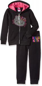 Hello Kitty Baby Girls' Active Set with Sliver Sequin Applique with Rainbow Sequin Bow