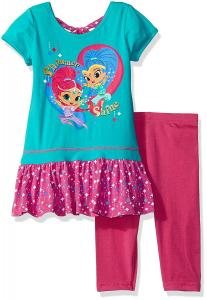 Nickelodeon Girls' 2 Piece Shimmer and Shine Tee and Legging Set
