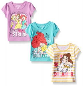 Disney Girls' 3 Pack Princess T-Shirts