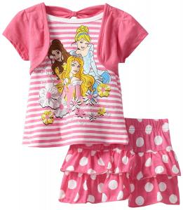 Disney Girls' Princess 2 Piece Pullover Knit And Knit Divided Skirt