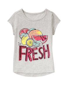 Gymboree Big Girls' Short Sleeve Fruit Grey Graphic Tee