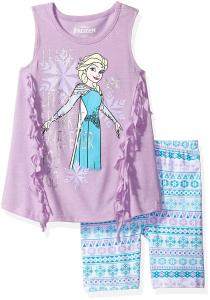 Disney Girls' 2 Piece Frozen Bike Short Set