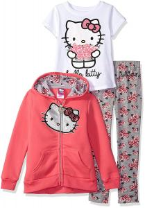 Hello Kitty Girls' 3 Piece Zip up Hoodie Legging Set with T-Shirt and Printed Leggings