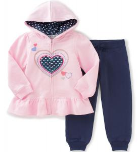 Kids Headquarters Girls' Fleece Jog Set - Heart
