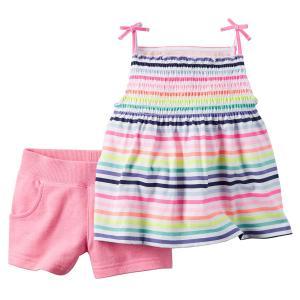 Carter's Little Girls' 2-Piece Top & Short Set (4T, Pink Stripes)