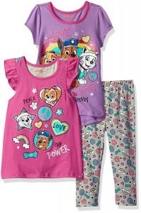 Nickelodeon Girls' 3 Piece Paw Patrol Knit Tops and Legging Set