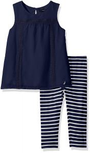 Nautica Girls' Chiffon Top with Stripe Legging Set