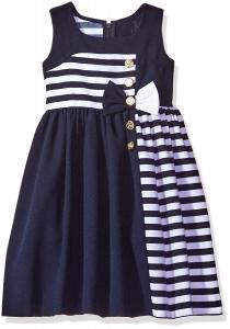 Bonnie Jean Girls Nautical Asymetrical Stripe Dress