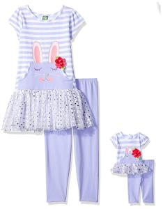 Dollie & Me Girls' Bunny Tutu Dress with Legging and Matching Doll Outfit