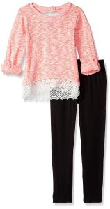 Kensie Girls' Sweater with Lace Trim Hem and Legging