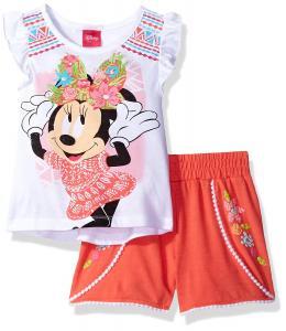 Disney Girls' 2 Piece Minnie Mouse Pom Pom Short Set