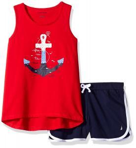 Nautica Girls' Graphic Tee Tank Top and Fashion Short Set