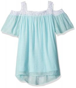 Amy Byer Big Girls' Square Neck Cold Shoulder Top with Crochet
