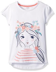 Gymboree Big Girls' Short Sleeve Flr Crown White Graphic Tee