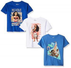Disney Girls' Moana 3-Pack Short Sleeve Graphic T-Shirt
