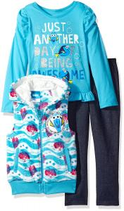 Disney Girls' 3 Piece Finding Dory Vest and Pant Set