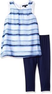 Nautica Girls' Stripe Chiffon Top with Capri Legging Set