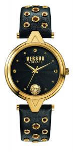 Versus by Versace Women's 'V eyelets' Quartz Stainless Steel and Leather Casual Watch, Color:Black (Model: SCI030016)