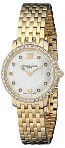 Frederique Constant Women's 'Slim Line' Silver Diamond Dial Goldtone Stainless Steel Swiss Watch FC-200WHDSD5B