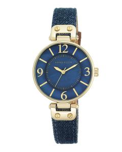 Anne Klein Women's 10/9168BMDD Gold-Tone and Dark Blue Denim Strap Watch